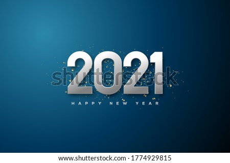 2021 happy new year background with metallic silver colored numbers.