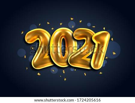 2021, Happy New Year Banner. Golden Luxury Text, Gold Glowing Numbers