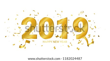 2019 Happy New Year Banner With Explostion Golden confetti and ribbon. congratulations. concept Design. Vector Illustration