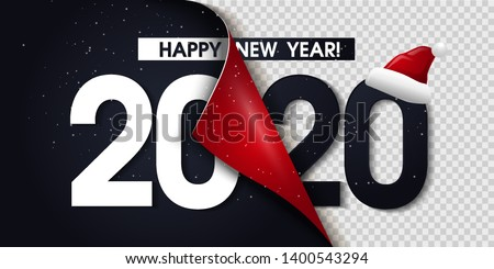 2020 Happy New Year Black Promotion Poster or banner with open gift wrap paper. Change or open to new year 2020 concept.Promotion and shopping template for New Year.Vector EPS10