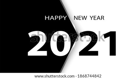 2021 Happy New Year Black Promotion Poster or banner with open gift wrap paper. Change or open to new year 2021 concept.Promotion and shopping template for New Year.Vector ,illustration