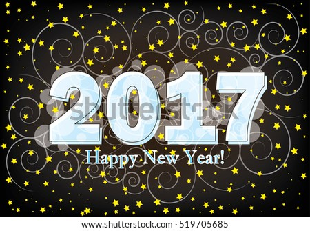2017 Happy New Year brown background with stars (vector) #519705685