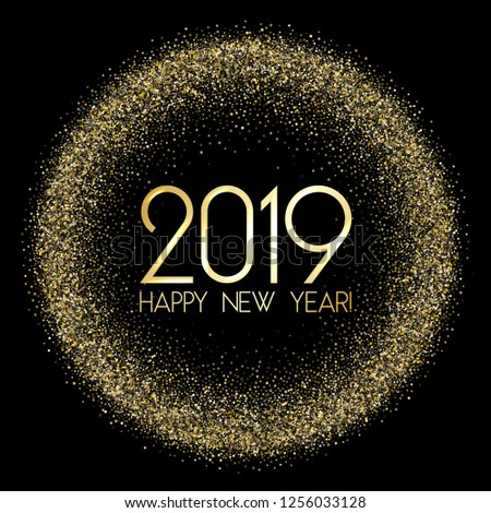2019 Happy New Year card, chic gold confetti. Foil texture gold glitter confetti sparkles backdrop, 2019 holiday card, banner or party poster design with wishes of happiness in New Year. #1256033128