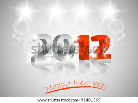2012 happy new year card  3d