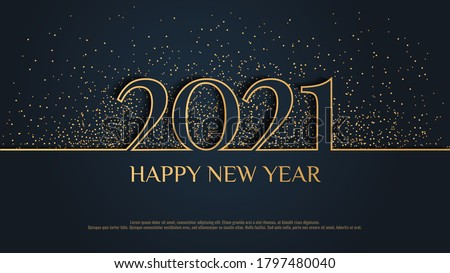"""Happy New Year 2021"" card design with glitter on the dark background. Vector illustration for poster, banner, cover, card, invitation, flyer, postcard."