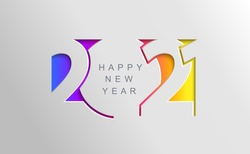 2021 Happy new year card in paper cut simple style for your seasonal holidays flyers, greetings and invitations cards and christmas themed congratulations and banners. Ox year. Vector illustration.