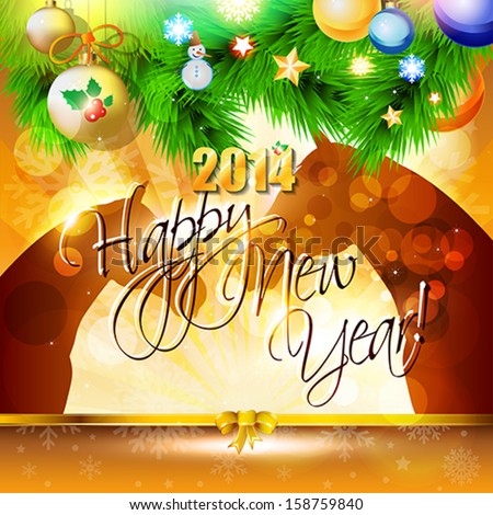2014 Happy New Year card or background with horse, balls, snowflakes and stars.  Vector illustration. - Shutterstock ID 158759840