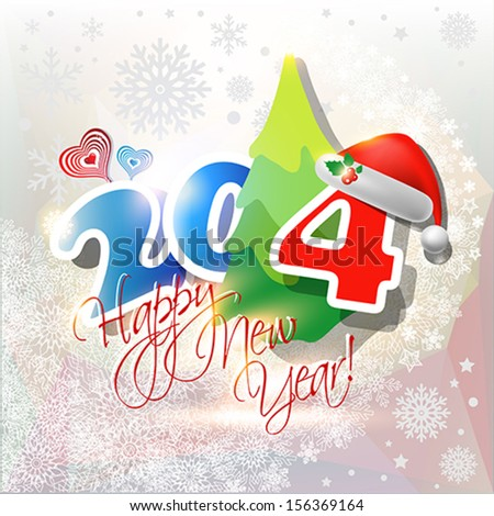 2014 Happy New Year card or background with  Santa`s hat and snowflakes.  Vector art.