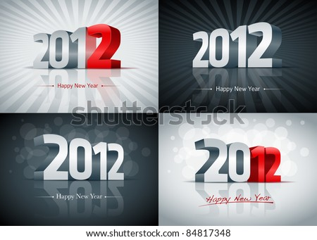 2012 happy new year card set all elements are layered separately easy editable