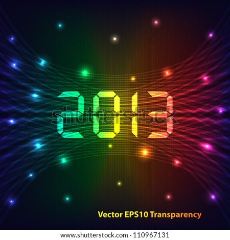 2013 Happy new year celebration background with neon lights style 2013 text. Glowing lights on dark background. Raster version also available.