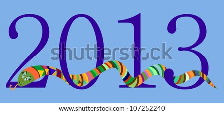 2013 Happy New Year, Chinese Year of Snake, Blue Digits on Sky Blue Background, Vector Version