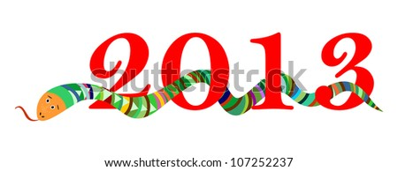 2013 Happy New Year, Chinese Year of Snake, Red Digits on White Background, Vector Version