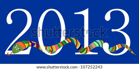 2013 Happy New Year, Chinese Year of Snake, White Digits on Blue Background, Vector Version