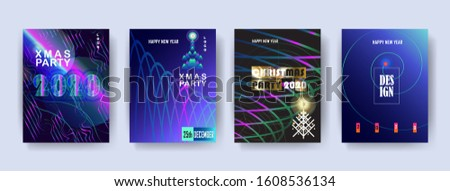 2020 Happy New Year & Christmas Party Modern Invitations, brochure cover, design set vector layout, geomrtric dynamic shapes fluid, hipster, gold, purple blue gradient, foil glitter texture background