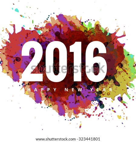 2016 Happy New Year colorful grunge card vector background #323441801