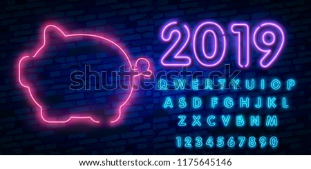 2019 Happy New Year concept with colorful neon lights. Design elements for presentations, flyers, cards, leaflets, posters or postcards. Vector Illustration. Isolated on dark blue background #1175645146