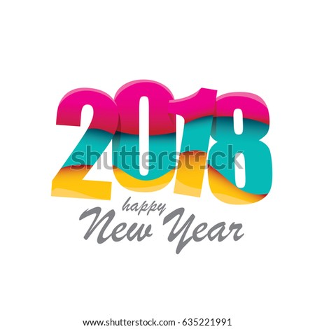 2018 Happy new year creative design background or greeting card. vector 2018 annual report cover with colorful numbers