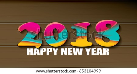2018 Happy new year creative design horizontal vector banner with colorful numbers 2018 and greeting text on wooden background. vector 2018 annual report cover presentation