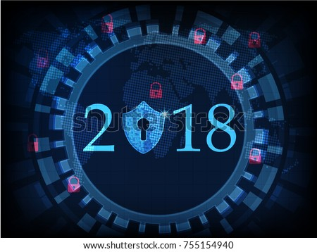 Happy New Year 2018 .Cyber security concept: Shield With Keyhole icon on digital data background. Ransomware alert, technology ,cyber secueity,cybercrime.