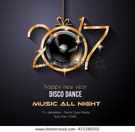 2017 happy new year disco party