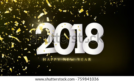 2018 happy new year. Gold confetti, tinsel, tiny paper pieces on dark black background with 3d effect. Motion geometric design. Vector illustration