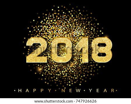 new year 2018 golden glitter poster winter holidays banner with sparkles black gorgeous sign trendy vector for web design celebration printed products
