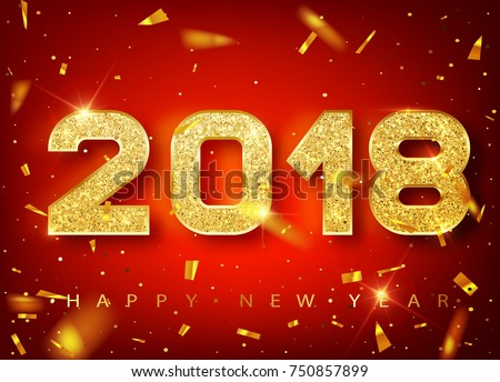 2018 Happy new year. Gold Numbers Design of greeting card of Falling Shiny  confetti. Gold Shining Pattern. Happy New Year Banner with 2018 Numbers on red  Bright Background. Vector 10 EPS