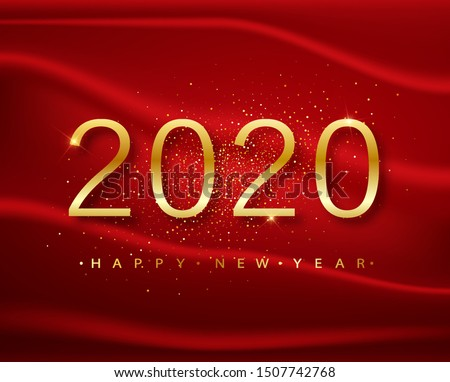 2020 Happy new year. Gold Numbers Design of greeting card  on a red background. Gold Shining Pattern. Happy New Year Banner with 2020 Numbers on Bright Background. Vector illustration