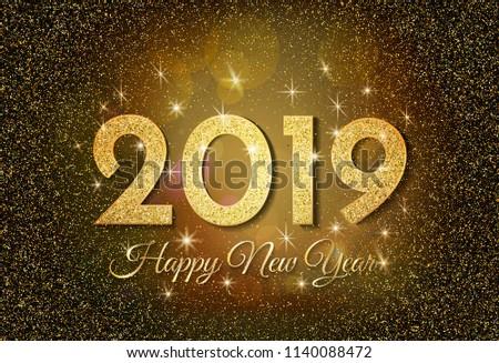 2019 Happy New Year. Golden glitter on dark background. New Year 2019 greeting card. Background with golden numbers and glitter. Vector illustration.