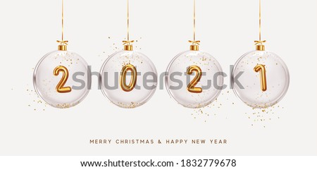 2021 Happy New Year. Golden metal number in glass bauble, Christmas decoration. Realistic 3d render metallic sign. Celebrate party 2021. Xmas Poster, banner, cover card, brochure, flyer, layout design