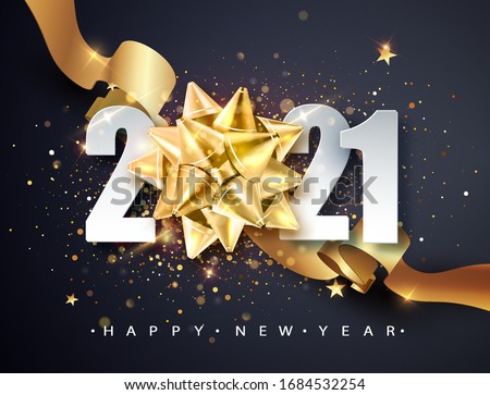 2021 Happy new year greeting banner. Happy New Year 2021 New Year Shining background with golden gift bow and glitter.