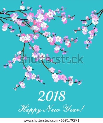 2018 happy new year greeting card celebration red background with flowers and place for your text illustration ez canvas