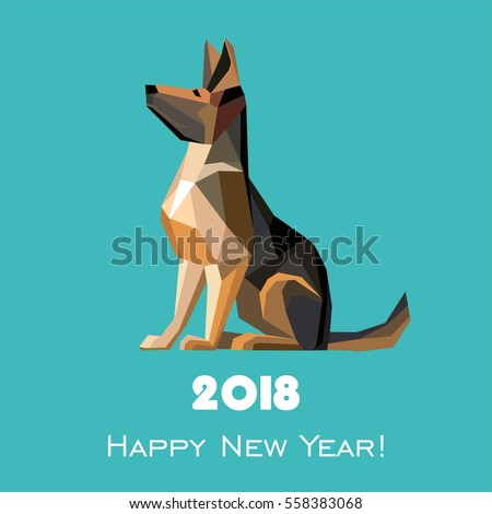 Vector images illustrations and cliparts 2018 happy new year 2018 happy new year greeting card celebration mint background with dog german shepherd and place m4hsunfo