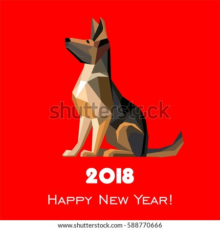 Vector images illustrations and cliparts 2018 happy new year 2018 happy new year greeting card celebration red background with dog german shepherd and place m4hsunfo