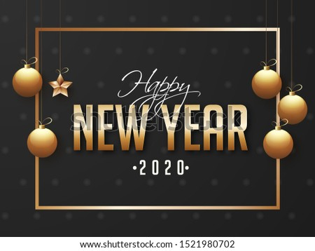 2020, Happy New Year greeting card design decorated with hanging golden baubles and star on black background.