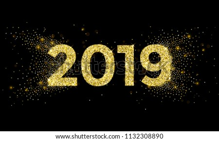 2019 Happy New Year greeting card of golden stars glitter confetti for Christmas holiday celebration on vector black sparkling background #1132308890