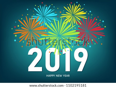 2019 happy new year greeting card on blue background with colorful fireworks vector design template