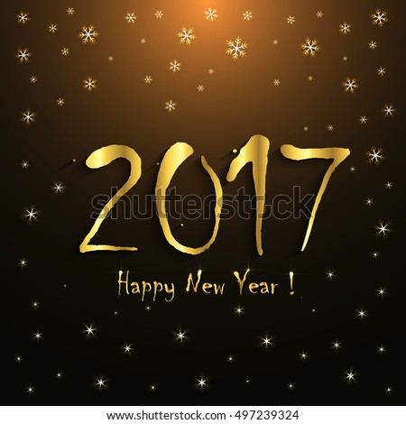 2017 Happy New Year! - greeting card template - golden snowflakes design #497239324