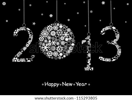 2013 Happy New Year greeting card. Vector