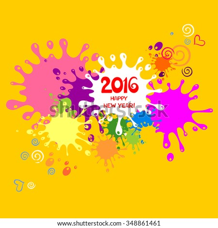 2016 Happy New Year greeting card. Vector illustration #348861461