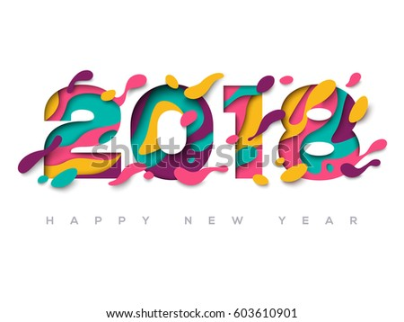 2018 happy new year greeting card with abstract paper cut shapes on white background vector