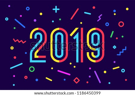 2019, Happy New Year. Greeting card with inscription Happy New Year 2019. Memphis geometric bright style for Happy New Year or Merry Christmas. Holiday background, banner, poster. Vector Illustration