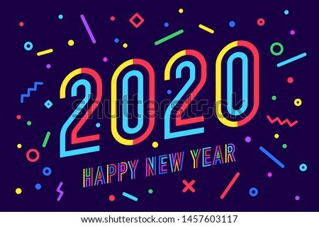 2020, Happy New Year. Greeting card with inscription Happy New Year 2020. Memphis geometric bright style for Happy New Year 2020 or Merry Christmas. Holiday background, poster. Vector Illustration