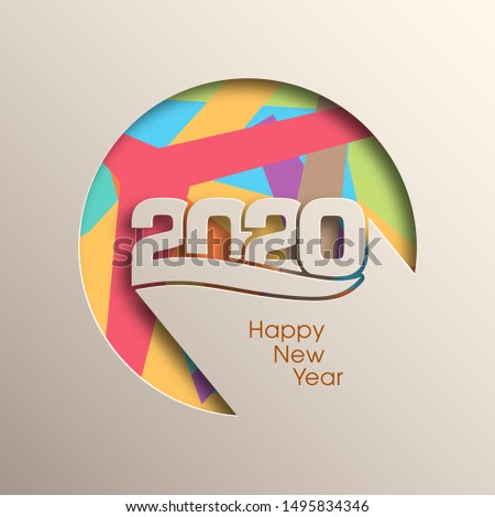 2020 Happy new year greeting card with intricate text design.