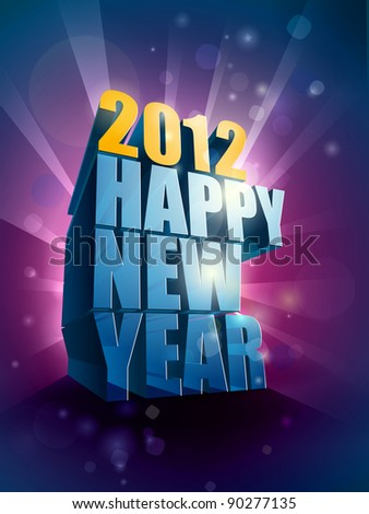 2012 Happy New Year greeting illustration | editable EPS 10 vector