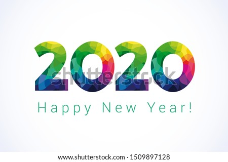 2020 Happy New Year greetings. Celebrating congratulating banner with colored facet stained numbers. Jubilee or birthday multicolor logo. 2, 20th, 20 years old illustration or sale 20% special offer