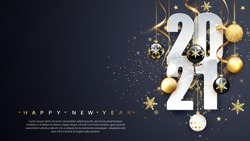 2021 Happy new year. Happy New Year Banner with numbers date 2021. Dark background. Vector illustration.