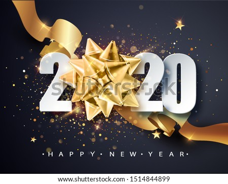 2020  Happy new year. Happy New Year 2020 New Year Shining background with golden gift bow and glitter. Happy New Year Banner for greeting card, calendar