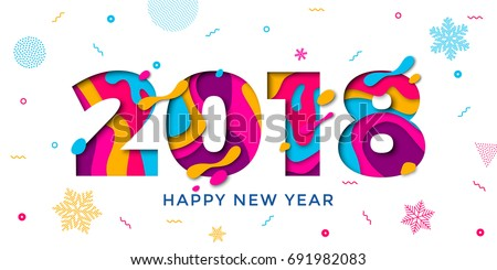 2018 happy new year holiday greeting card on white background with snowflakes pattern vector winter
