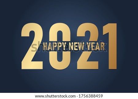 2021, Happy New 2021 Year. Holiday vector illustration of Golden numbers 2021
